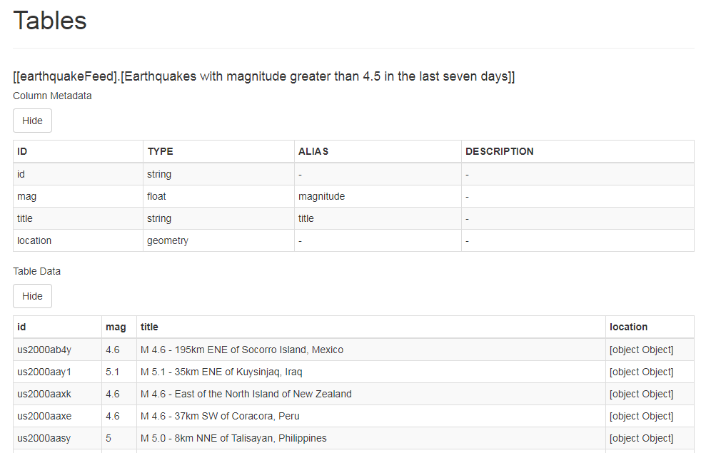 """The earthquake data is displayed in a table on the simulator page."""